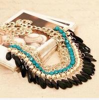2014 Layered Bohemian Tassels Fringe Drop Vintage Gold Choker Chain Neon Bib Statement Necklace For Women necklaces & pendants