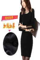 2 Color Fashion Women 2014 New Autumn And Winter Korean Yards Plus Thick Velvet Bag Hip Bottoming casual Dress