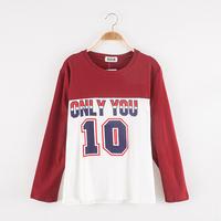 2014 Autumn High Street Women Baseball Hoodie Print Casual Loose Fit Crop Sweatshirt For ladies Fashion Sports Trend All-match t
