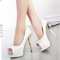 Ultra high heels thin heels shoes autumn 2014 platform open toe shoe fashion sexy women's shoes single shoes