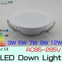 10x3w 5w 7w 9w 12w Hot sales SMD5730  Led Downlight lampada 110v/120v/220v/230v/240v LED light White/Warmwhite Free Shipping