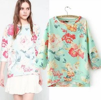 2014 European Style Brand Floral Print Pullover Women Cotton Coat Sweater O-Neck All-match Spring Fall Winter CL1999