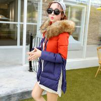 2014 winter women fashion down jacket feather dress,warm female Cotton padded clothes latest army  jacket girls long coat XXXL