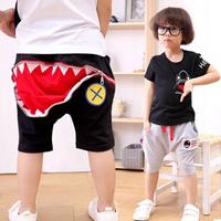BNWT Korean Designer Boys Shark Shorts with large back zip pocket UK Sizes 3-7yr