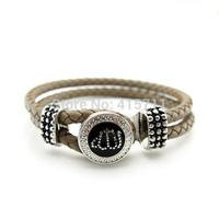 YH-AB01 Light Khaki Leather Bracelet, Rhinestone Allah Muslim Islam Bracelet