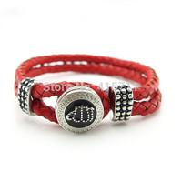 YH-AB04  Islamic Jewelry Red Leather Bracelet, Rhinestone Allah Muslim Islam Bracelet