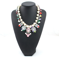 Colorful hand-knit European and American shourouk pearl crystal necklace accessories