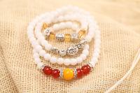 Korean temperament crystal bracelet. Porcelain white tourmaline crystal beads peach drill collar Bracelet national bracelet.