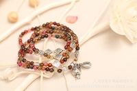 The tiger wallet logo bracelet. Natural agate crystal tourmaline garnet Korean fashion retro multilayer bead female Bracelet