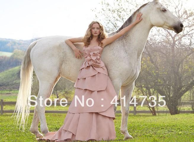 Luxury bridal stores Tatteta Pink Wedding Gowns on sale Floor Length Elegant Bridal Dress Online(China (Mainland))