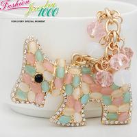 Hot Long Tassel Colorful Dog Keychain keyring Fashion Rhinestone Animal  Metal Key Chain Ring for Women Gift Bag Charms Pendants