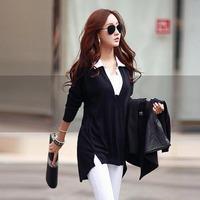 New 2014 Autumn Plus Size Cotton Turn-down Collar Long T Shirt Casual Women Long Sleeves Loose Women T-shirt M-4XL