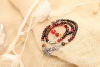 Natural agate crystal tourmaline bracelet. Pixiu Pisces  retro multilayer bracelet. Starfish Pendant national style bracelet.