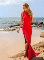 2014 Red White Formal Fishtail Mermaid Elegant Long Party Evening Dress Prom Gown Women backless Vestidos de Renda Maxi Dress