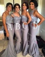 2015  Dark Gray 4 Styes Mixed Long Halter Mermaid Sexy Cheap Dress Backless Bridesmaid Dresses