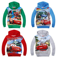 1 Pcs/lot 2014 Newest Brand children hoody boys clothes 4 colors cartoon cars printed kids baby autumn hoodies sweater outerwear