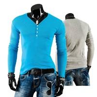 New 2014 Men fashion t-shirt Autumn Winter Slim Fit Casual Shirts Men Long Sleeve Button decoration t-shirt size M-XXL
