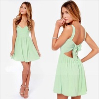 Free Shipping 2014 Summer Fashion women sexy backless sleeveless bow ruffles dress