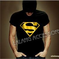 Hot Men Black Cotton Summer Casual Print Pattern T-shirt Men Tees Tops Short Sleeve Superman T Shirts Free Shipping cx851616