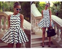 Women Summer Plus Size Dresses Stripe Print Vestidos Verao De Praia Mulheres Formal Sleeveless Casual Sexy Branco Renda QZ22