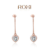 ROXI 2014 Earrings For Women Silver gold 2 colors drop  Earrings Fashion Crystal Brincos Jewelry Gift 290 Free Shipping