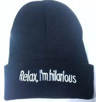 relax I'm hilarious Beanies Autumn Winter Wool Knitted Men Women Caps Casual Skullies Hip-hop
