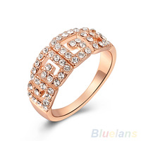 Women's Hollow Geometric Style 9K Rose Gold Plated Rhinestone Party Wedding Ring  00WC