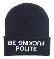 be fucking polite Beanies Autumn Winter Wool Knitted Men Women Caps Casual Skullies Hip-hop