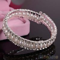 1PC Women Bridal Wedding 2 Rows Crystal 1 Row Faux Pearls Bangle Bracelet  00TB
