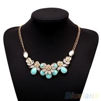 Women Ethnic Crystal Rose Flower Chain Charm Pendant Choker Statement Necklace  00IJ