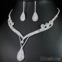 Bridal Wedding Clear Austrian Crystal Rhinestone Water Drop Necklace Earrings Set  00XG