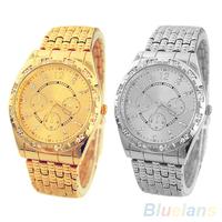 Men's Luxury Crystal Dial Quartz Analog Geneva Steel Chain Bracelet Wrist Watch  00A8