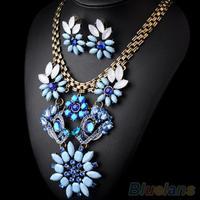 Women's Vintage Crystal Rhinestone Flower Short Chain Necklace Earrings Jewelry Set  00AM