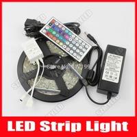 RGB LED Strip 5050 Flexible Light 5M 300 Leds 60 Leds/m SMD 44 Keys IR Remote Controller 12V 6A Power Adapter Free Shipping