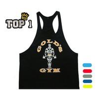 Fitness!Spring 2014 cotton golds gym tank top men Sleeveless tops for boys bodybuilding clothing Sport undershirt wholesale vest