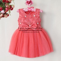 2014 Arrival Pricess Girl Dresses Watermelon Bead Lace Flower Girls Wedding Wear  Child Wear For Christmas Clothes GD40814-7
