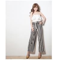 Wilfully preppy peppy elastic chest ruffles white top patched with striped full trousers jumpsuit pants 2014 fashion style women