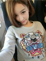 In the fall of 2014 new tiger head embroidery loose big T-shirt sleeve head short paragraph hoodies women