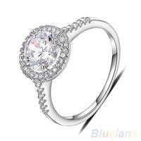 Women's 8MM 18K White Gold Plated Austrian Crystal Rhinestone Engagement Ring  00W4
