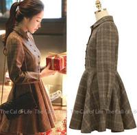 Vintage Elegant Slim Body Plaid Blend Wool Female Dress Turn-down Collar Autumn and Winter Dress High Waist Women Dress