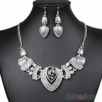 Wedding Women's Vintage Rhinestone Choker Chunky Chain Necklace Earrings Jewelry Set 00SU