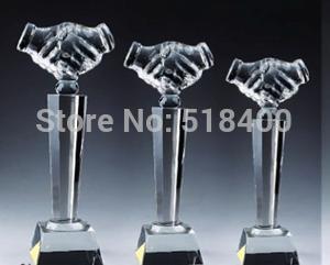 Noble High quality hot selling stock crystal corporate award crystal handshake award in stock(China (Mainland))