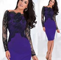 Fashion Women Empire Vintage Knee-length long sleeve slash Neck slim purple color lace dress Party Pencil Dress Plus Size S-XL