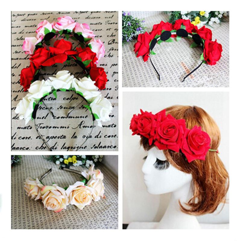 1PC Free Shipping Hair Hoop Korean Style Bridal Wreath Rose Garland Bride Bridesmaid Flower Photo Ornaments 4 Colors(China (Mainland))