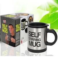 New Gift Self strring  coffee cup electric tea mug lounged Automatic Plain Mixing coffee Tea cup Lazy Self strring mug 4 color