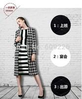 Fashion houndstooth woolen plaid outerwear woolen overcoat cashmere straight medium-long plus size
