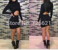 New Arrival Black Elegant Bodycon Dress 2014 Women Clothing Bandage Dress Sexy Eveing Club Novelty Dresses