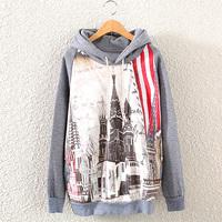 2014 New Fashion Casual Lady Women Gray  Hooded Pullover Long Sleeve Petersburg Printed women's Sweatshirt Hoodie W8
