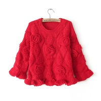 The 013 winter roses waist flounce stereo head short long sleeved sweater 0070