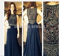Hot Selling Long High Neck Prom Dresses Chiffon A Line Beaded Evening Dress Vestido Longo Floor Length Women Prom Gown